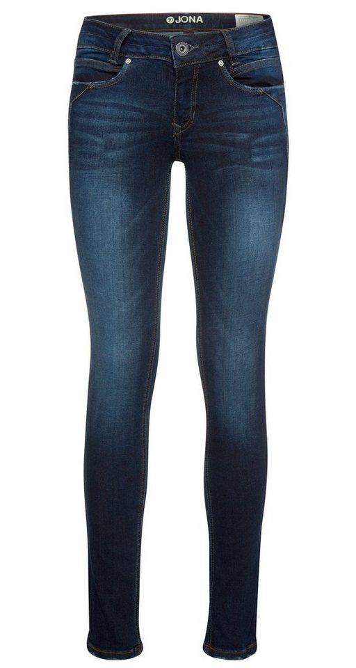 TOM TAILOR DENIM Jeans »angesagte Jona Denim mit Stretch« in dark blue denim