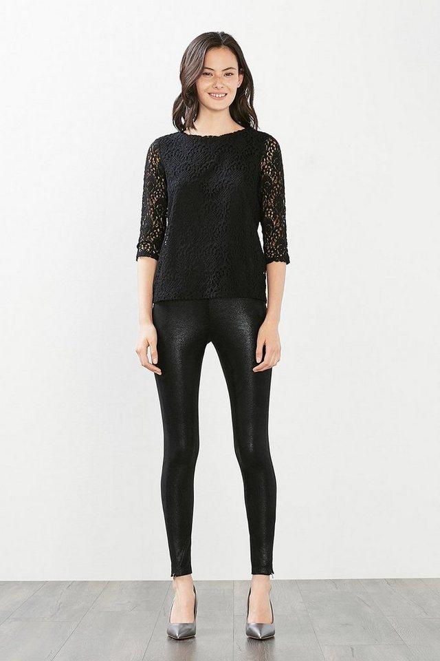 ESPRIT CASUAL Spitzen-Shirt mit blickdichtem Top in BLACK