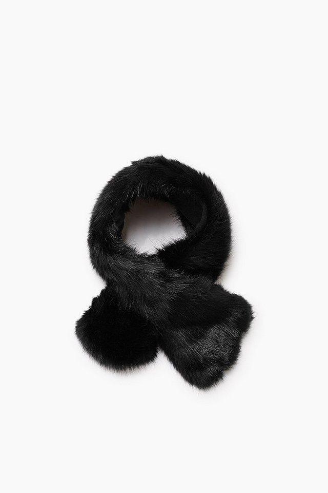 ESPRIT CASUAL Schal aus Kunstpelz mit Fleece-Unterseite in BLACK