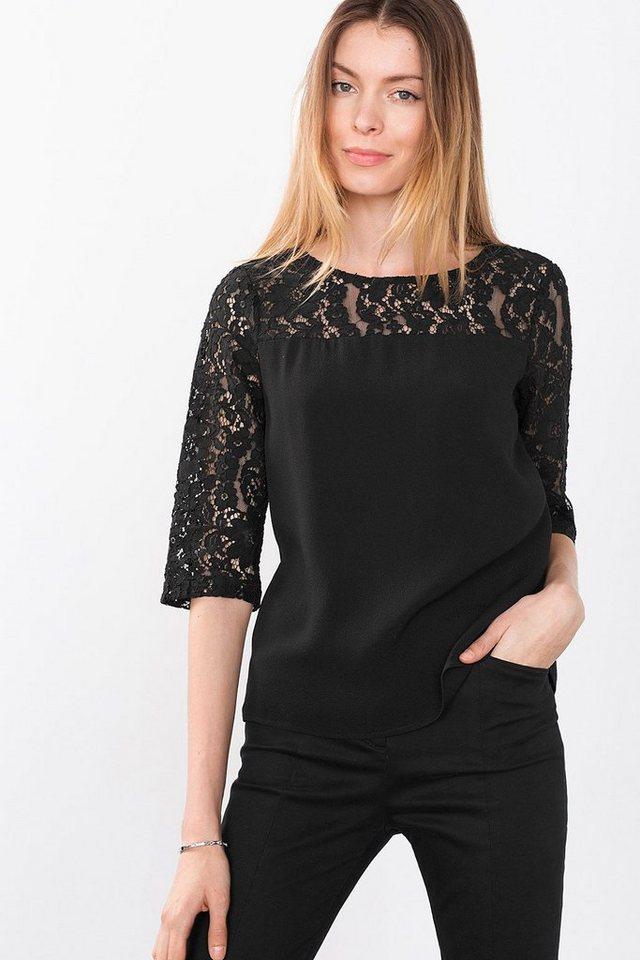 ESPRIT CASUAL Struktur-Bluse mit Spitzen-Details in BLACK