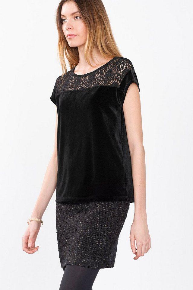 ESPRIT CASUAL Samt-Shirt mit Spitzen-Dekor in BLACK