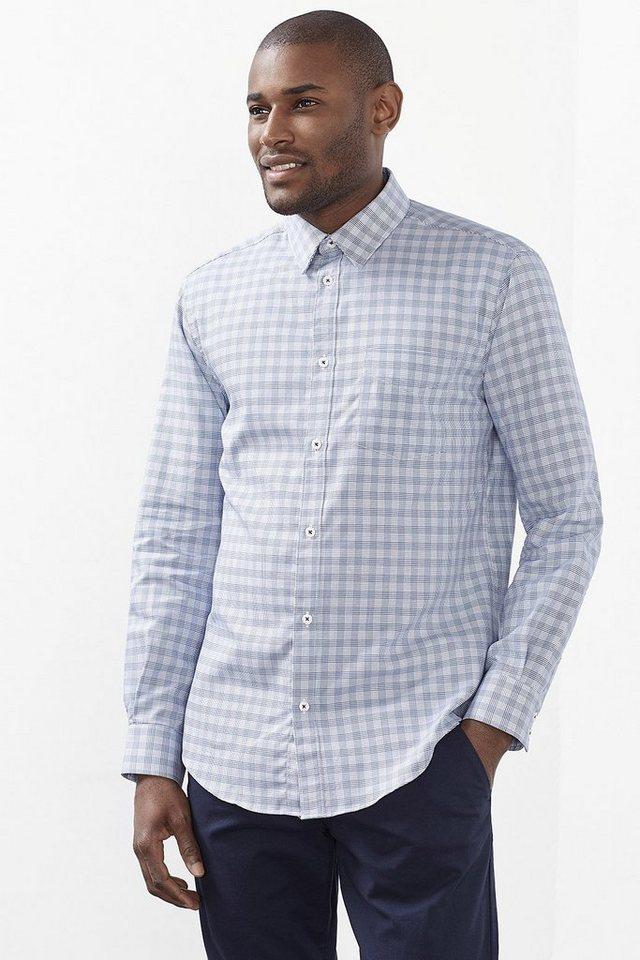 ESPRIT CASUAL Smartes Baumwoll Hemd mit kleinem Karo in BLUE
