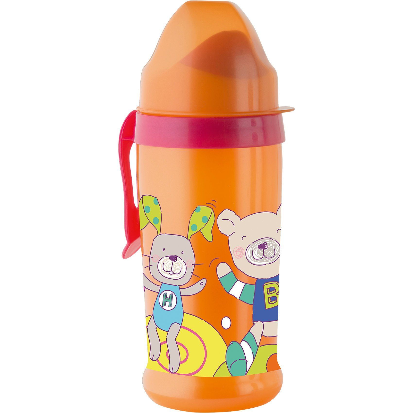 Rotho Babydesign Trinkflasche mit weichem Trinkaufsatz, Cool Friends, orange/