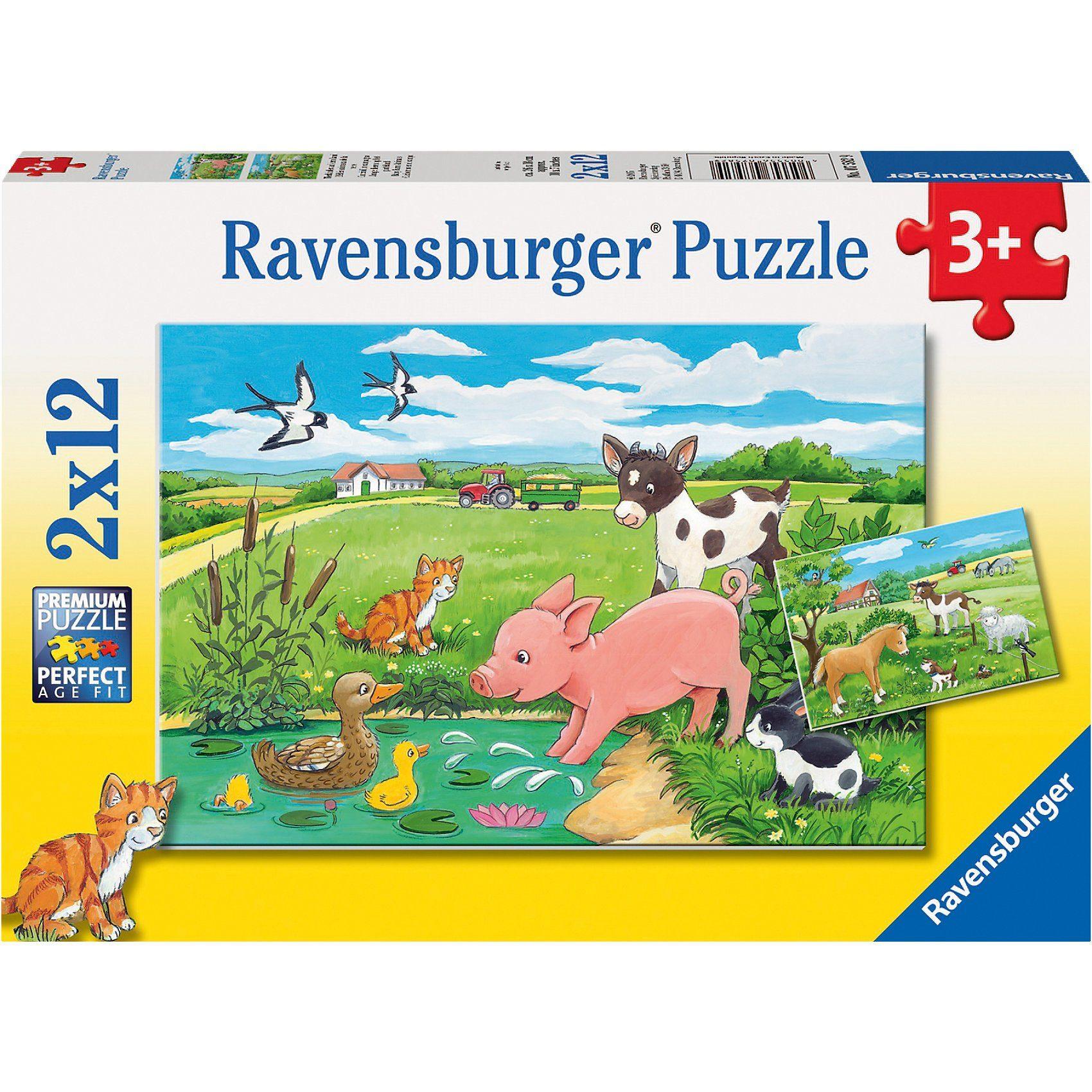 Ravensburger Puzzleset Tierkinder auf dem Land 2 x 12 Teile