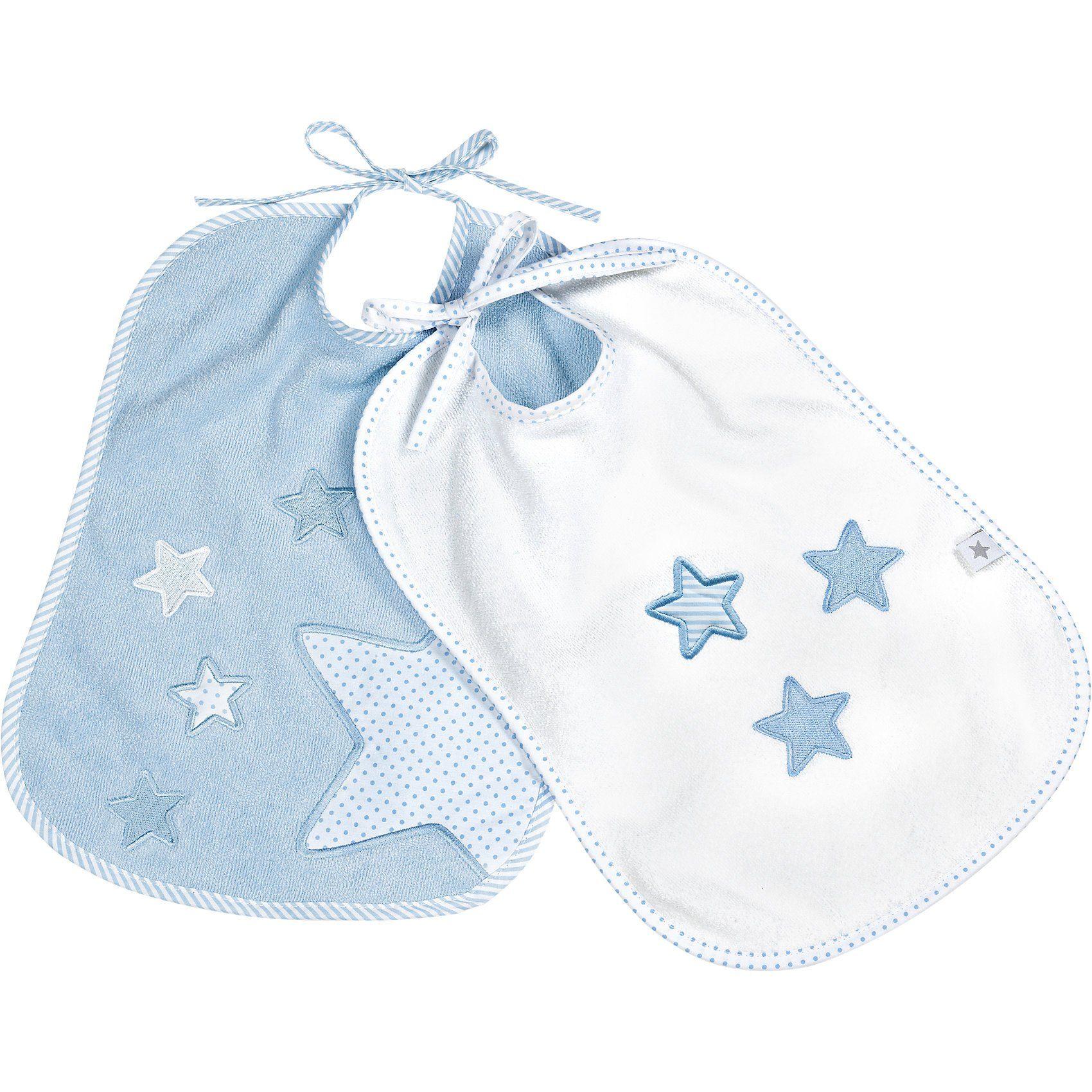 fashy Lätzchen Sterne, 2er Pack, weiß + blau