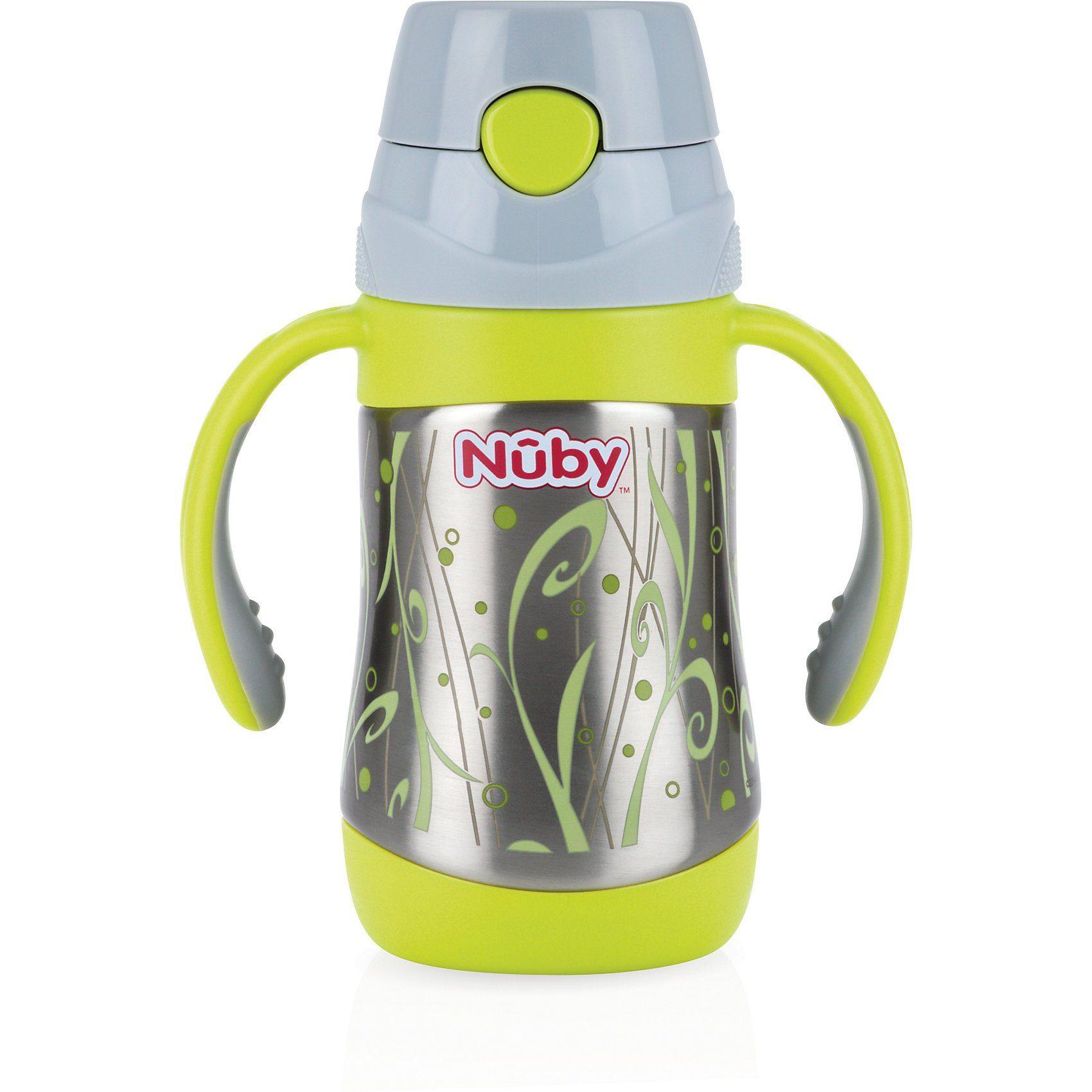 Nuby Thermo Trinkhalmflasche Clik-It, Edelstahl, 280 ml