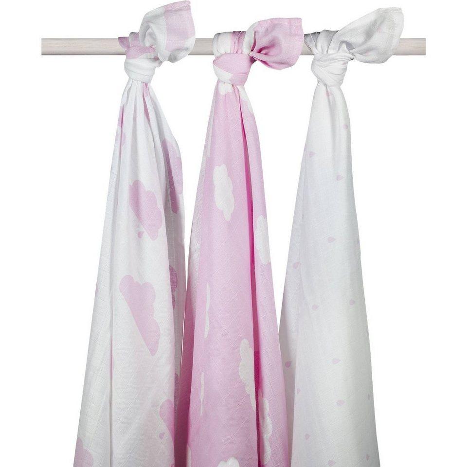 Jollein Mullwindel XL, Wolke, rosa, 115 x 115 cm, 3er-Pack in rosa