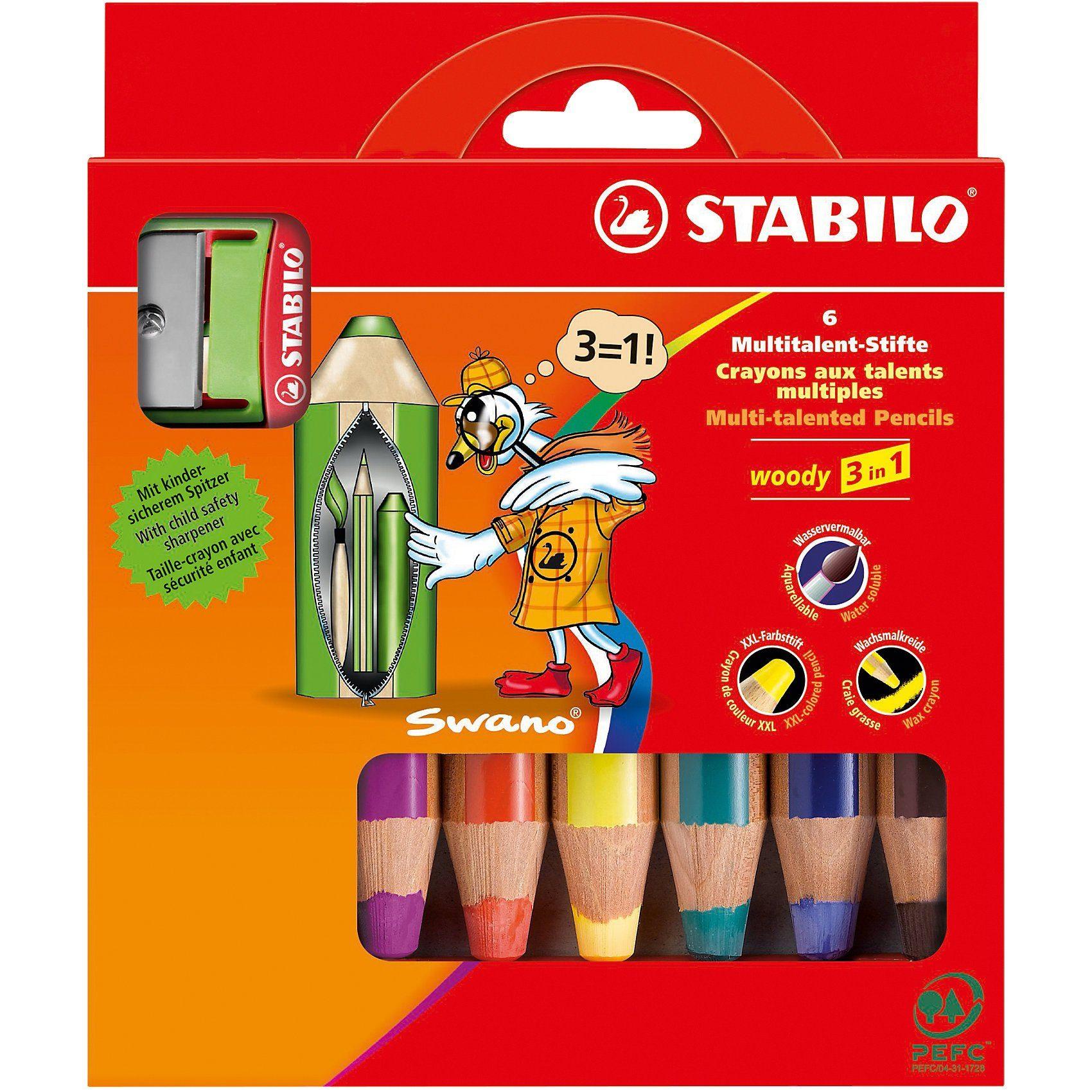 Stabilo Buntstifte woody 3 in 1, inkl. Spitzer, 6 Farben