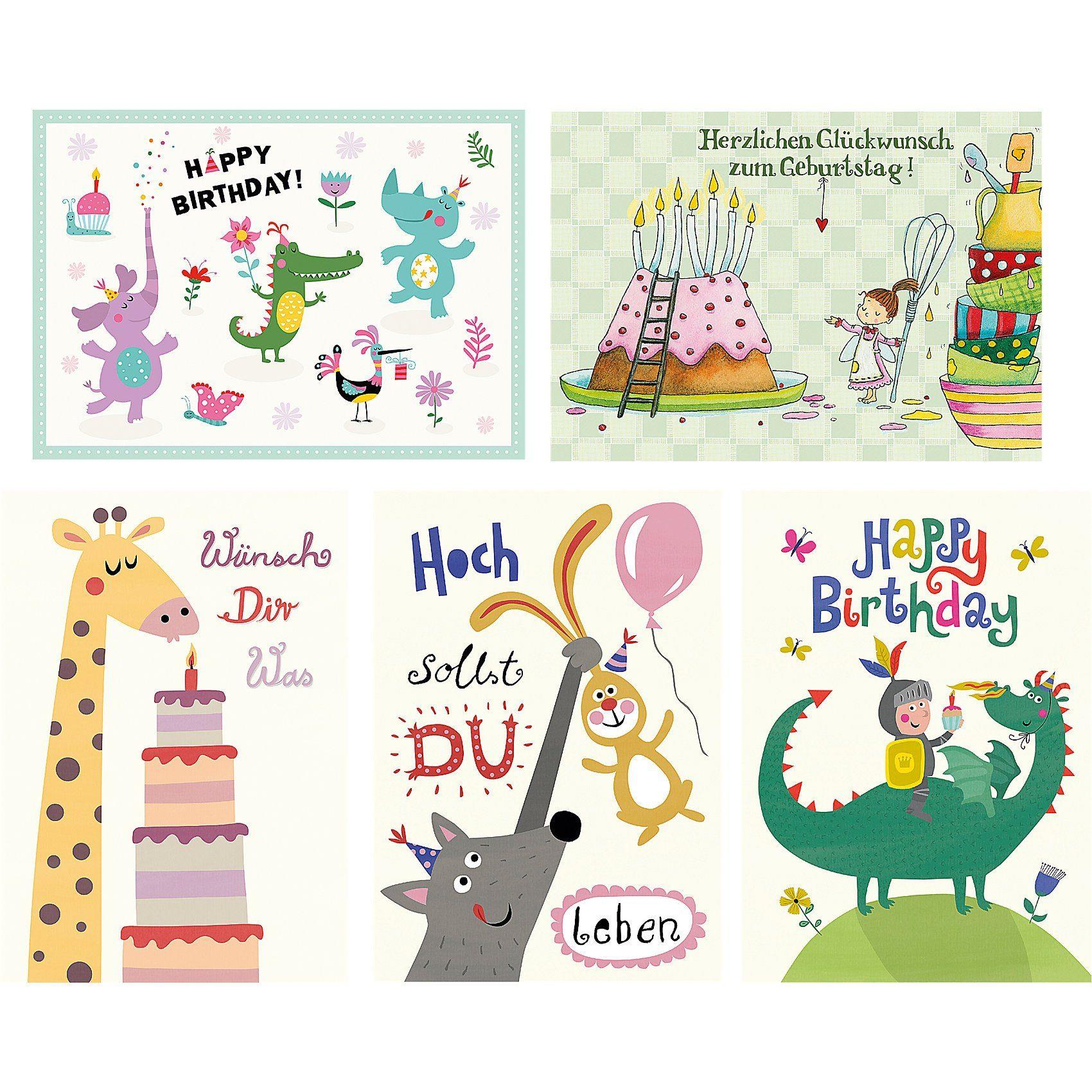 Grätz Verlag Postkarten Happy Birthday, 5 Stück