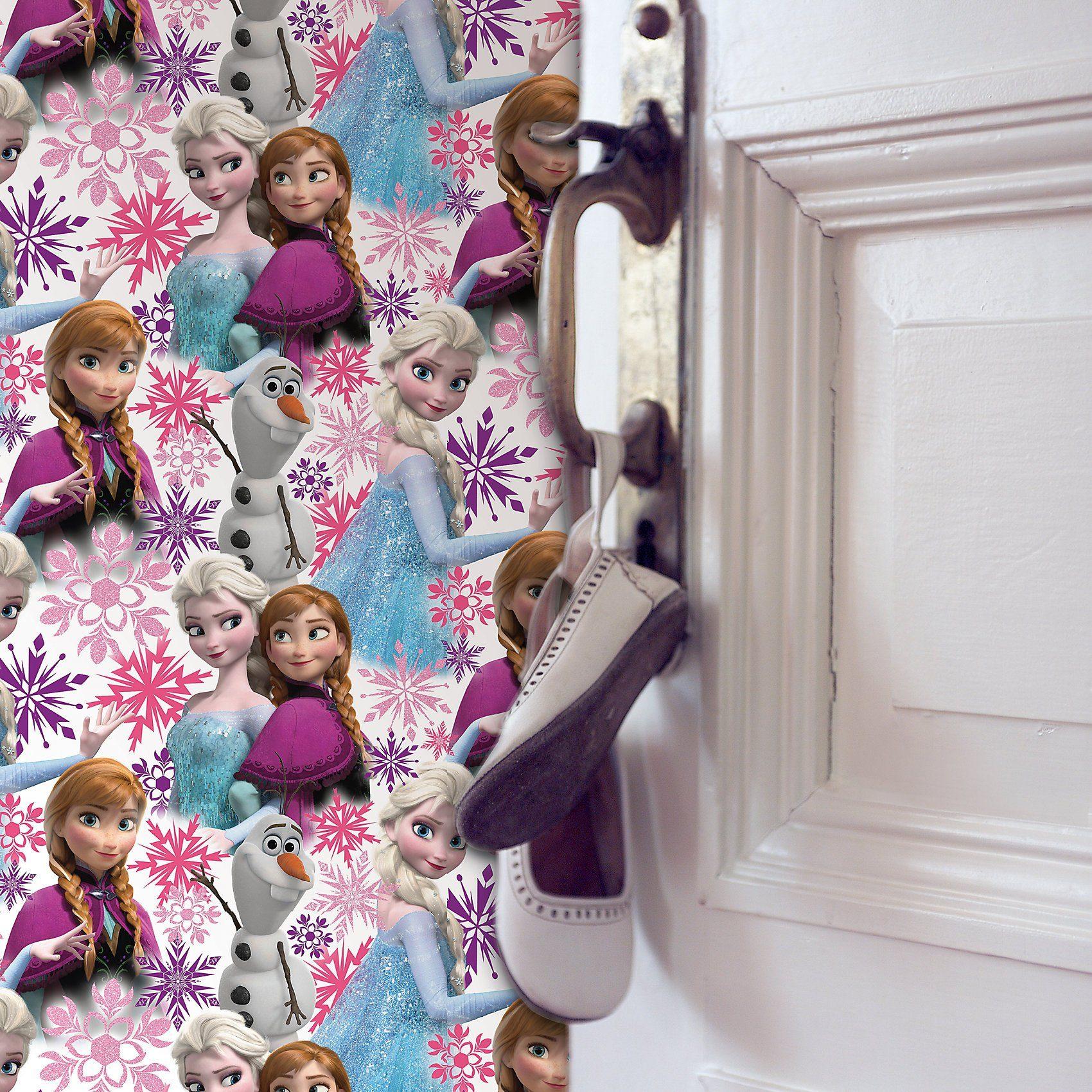 Decofun Tapete Die Eiskönigin Anna und Elsa, Pink, 10,05 m x 53 cm