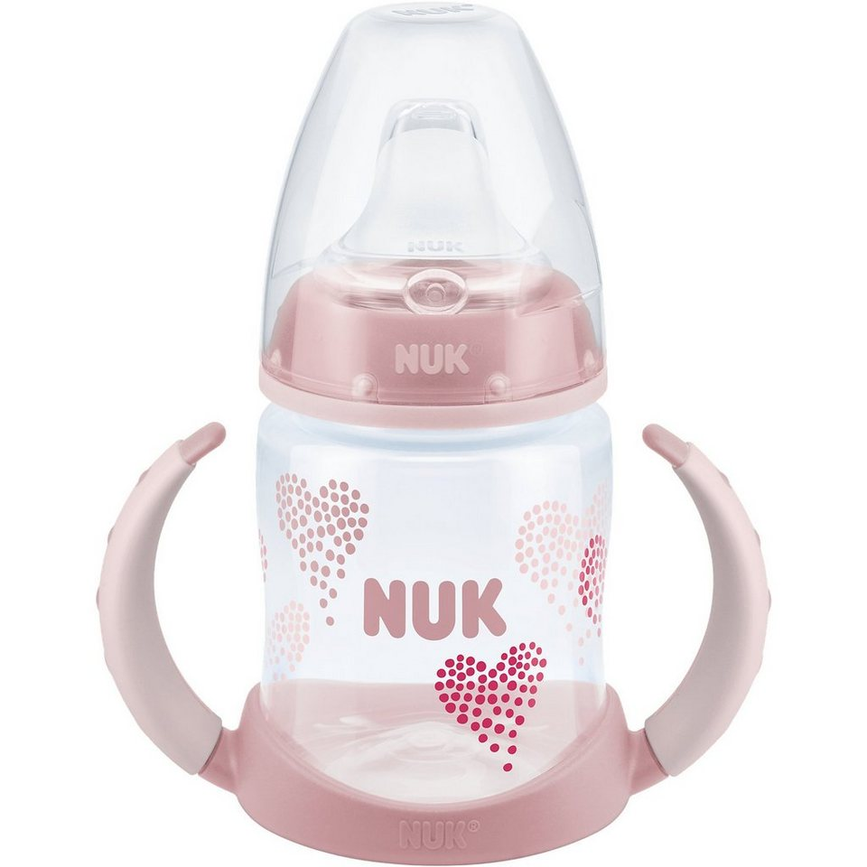 NUK Trinklernflasche FIRST CHOICE+, PP, 150 ml, Silikon- Trinktü in rosa