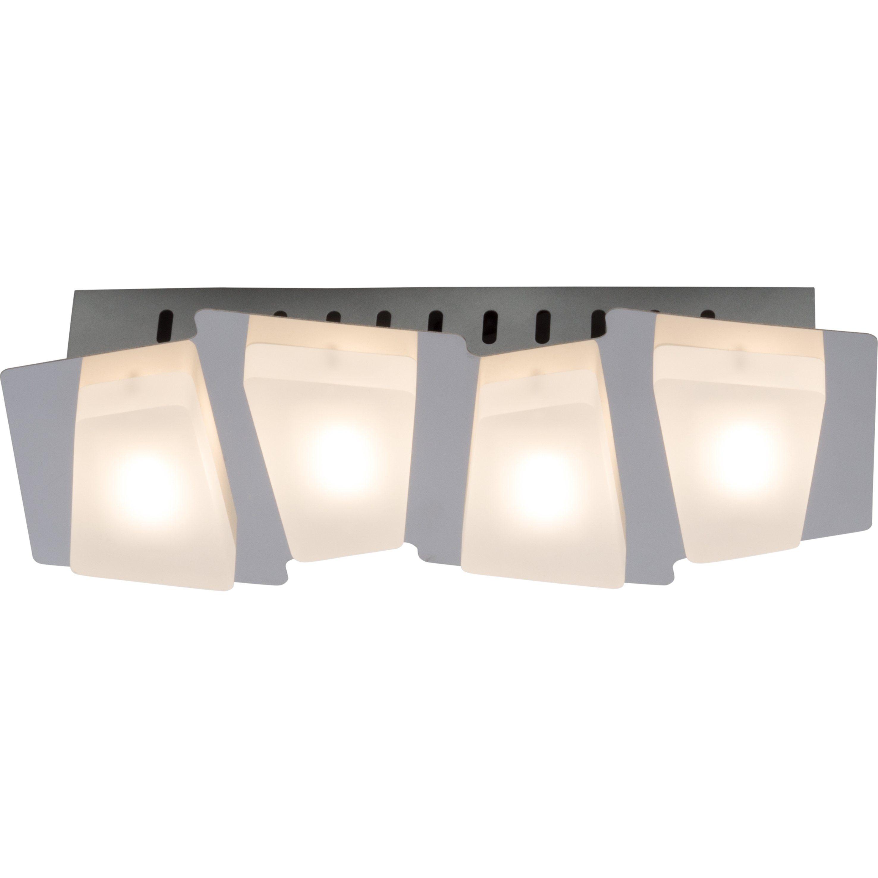 Brilliant Leuchten Block LED Wandleuchte, 4-flammig chrom/weiß
