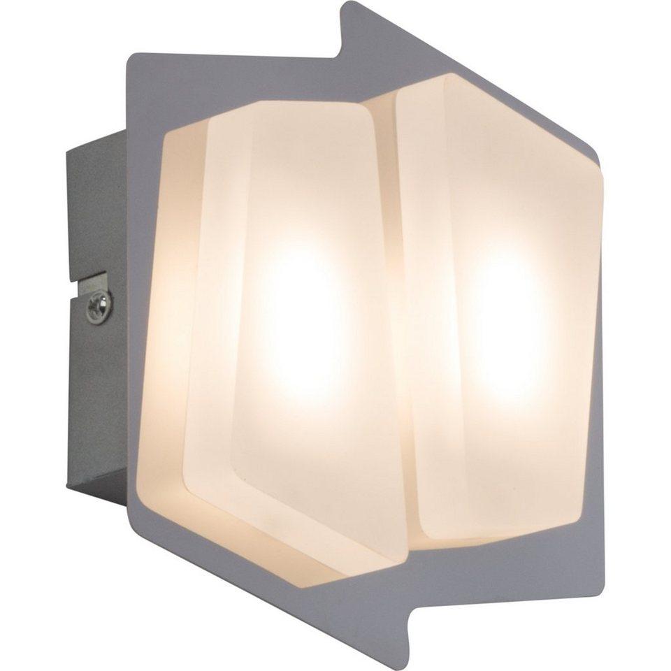Brilliant Leuchten Block LED Wandleuchte, 2-flammig chrom/weiß in chrom/weiß