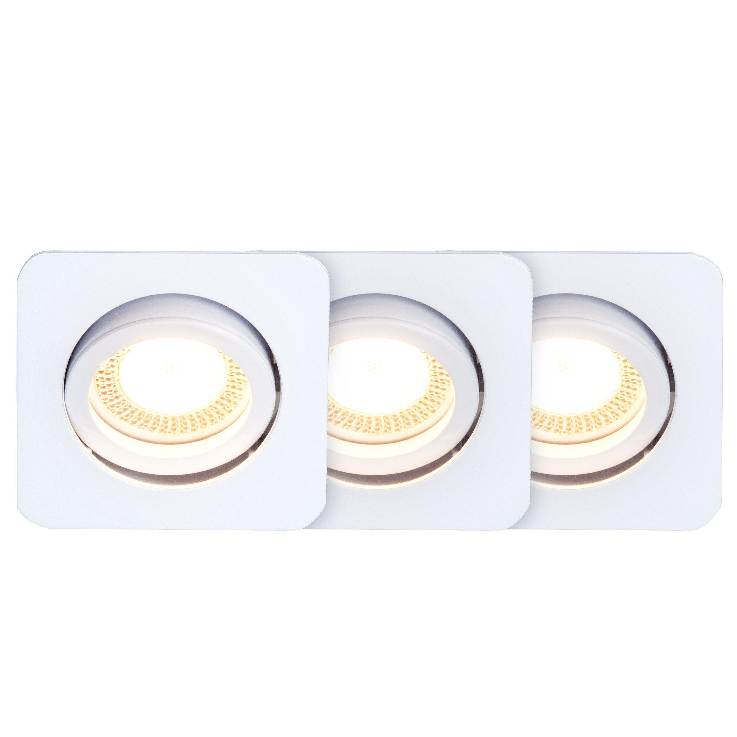 Brilliant Leuchten Easy Clip LED Einbauleuchtenset: 3St schwenkbar weiß IP23 quadr.
