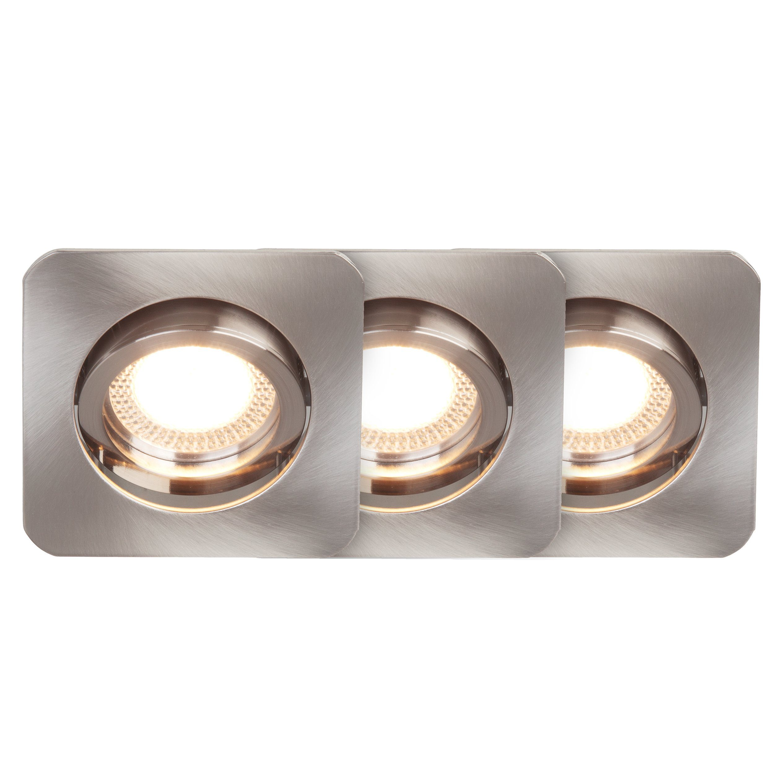 Brilliant Leuchten Easy Clip LED Einbauleuchtenset: 3St. schwenkbar eisen quadr.