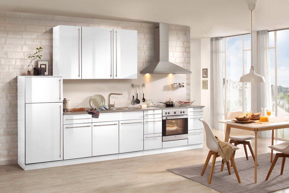 Küchenzeile mit E-Geräten »Chicago 340 cm« in weiß