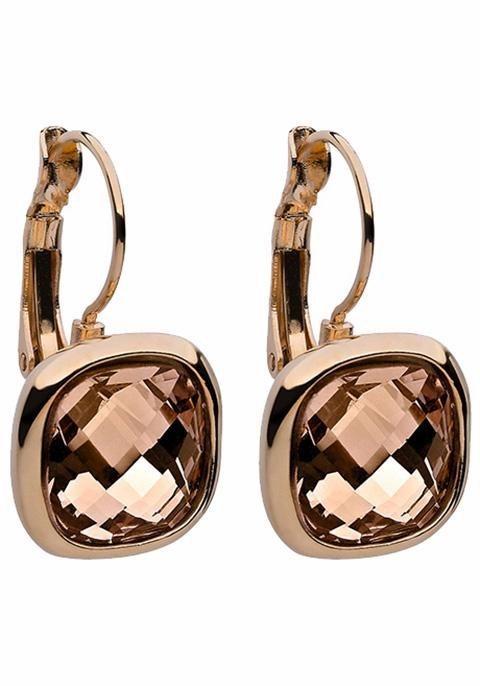 qudo Paar Ohrhänger »Estella, 303502« mit Glassteinen in roségoldfarben-braun