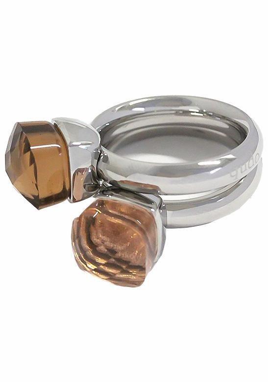 qudo Ring-Set »Firenze, O600055, O600057, O600058, O600060« mit Zirkonia (Set, 2 tlg.) in silberfarben-hellbraun-dunkelbraun