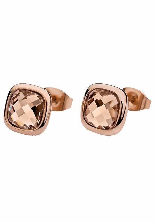 qudo Paar Ohrstecker »Estella, 308041« mit Glassteinen in roségoldfarben-nude