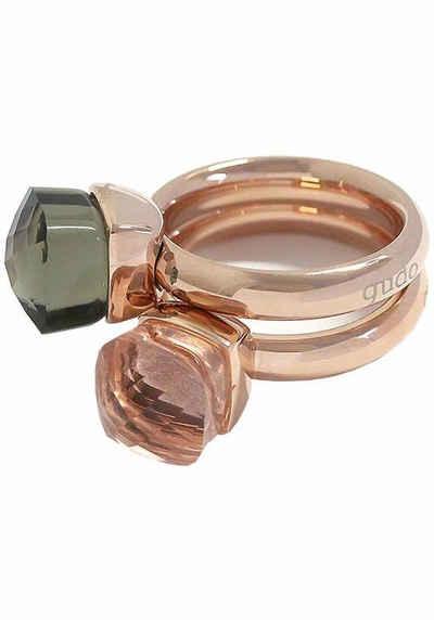 qudo Ring-Set »Firenze, O600037, O600039, O600040, O600042« (Set, 2-tlg), mit Zirkonia