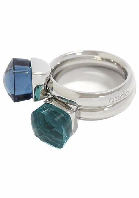 qudo Ring-Set »Firenze, O600043, O600045, O600046, O600048« mit Zirkonia (Set, 2 tlg.) in silberfarben-blau-türkis