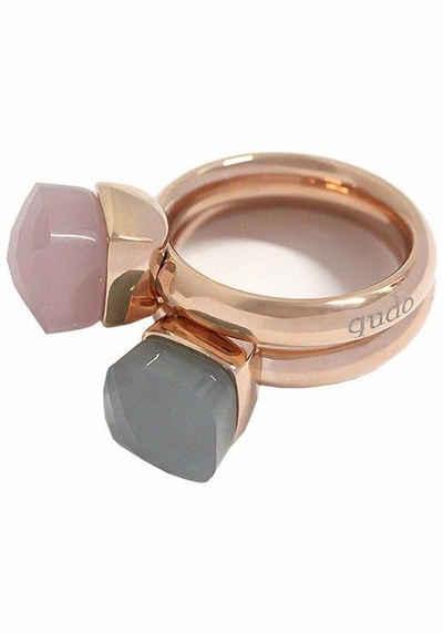 qudo Ring-Set »Firenze, O600025, O600027, O600028, O600030« (Set, 2-tlg), mit Zirkonia