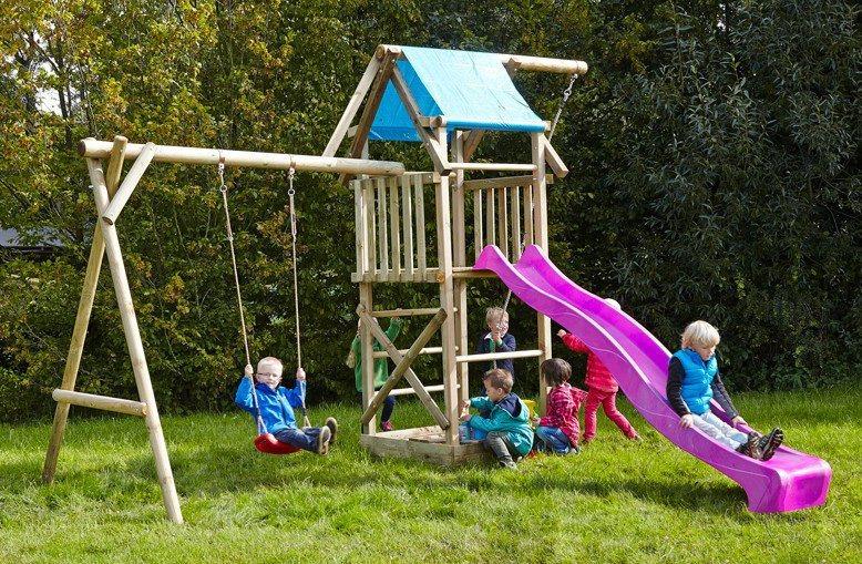 Dein Spielplatz Spielturm mit Schaukel, Knotenseil und Rutsche, pink, »Asterix« in pink