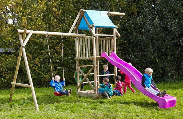 Dein Spielplatz Spielturm mit Schaukel, Knotenseil und Rutsche, pink, »Asterix«