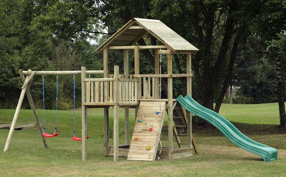 Dein Spielplatz Spielturm mit Rutsche und Holzdach, grün, »Pirate & Princess 12« in grün