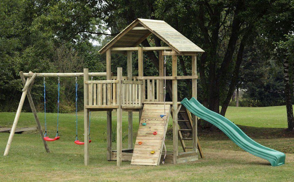 Dein Spielplatz Spielturm mit Rutsche und Holzdach, grün, »Pirate & Princess 12«