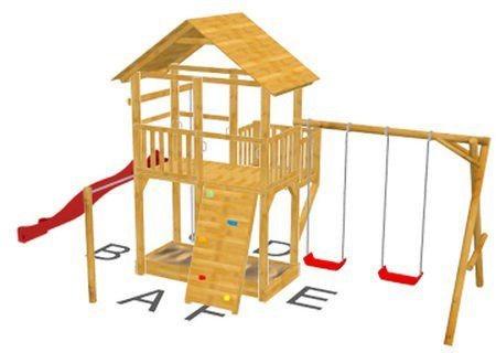 Dein Spielplatz Spielturm mit Rutsche, rot, »Pirate & Princess 11« in rot