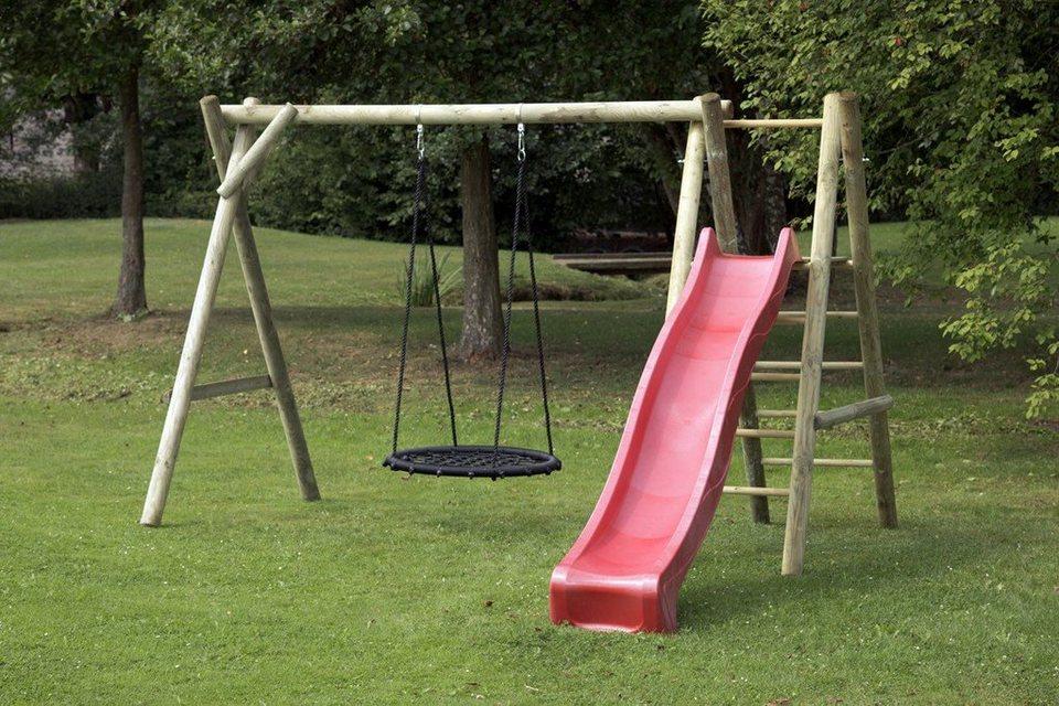 Dein Spielplatz Schaukel mit Nestschaukelsitz und Wellenrutsche, rot, »Justin« in rot