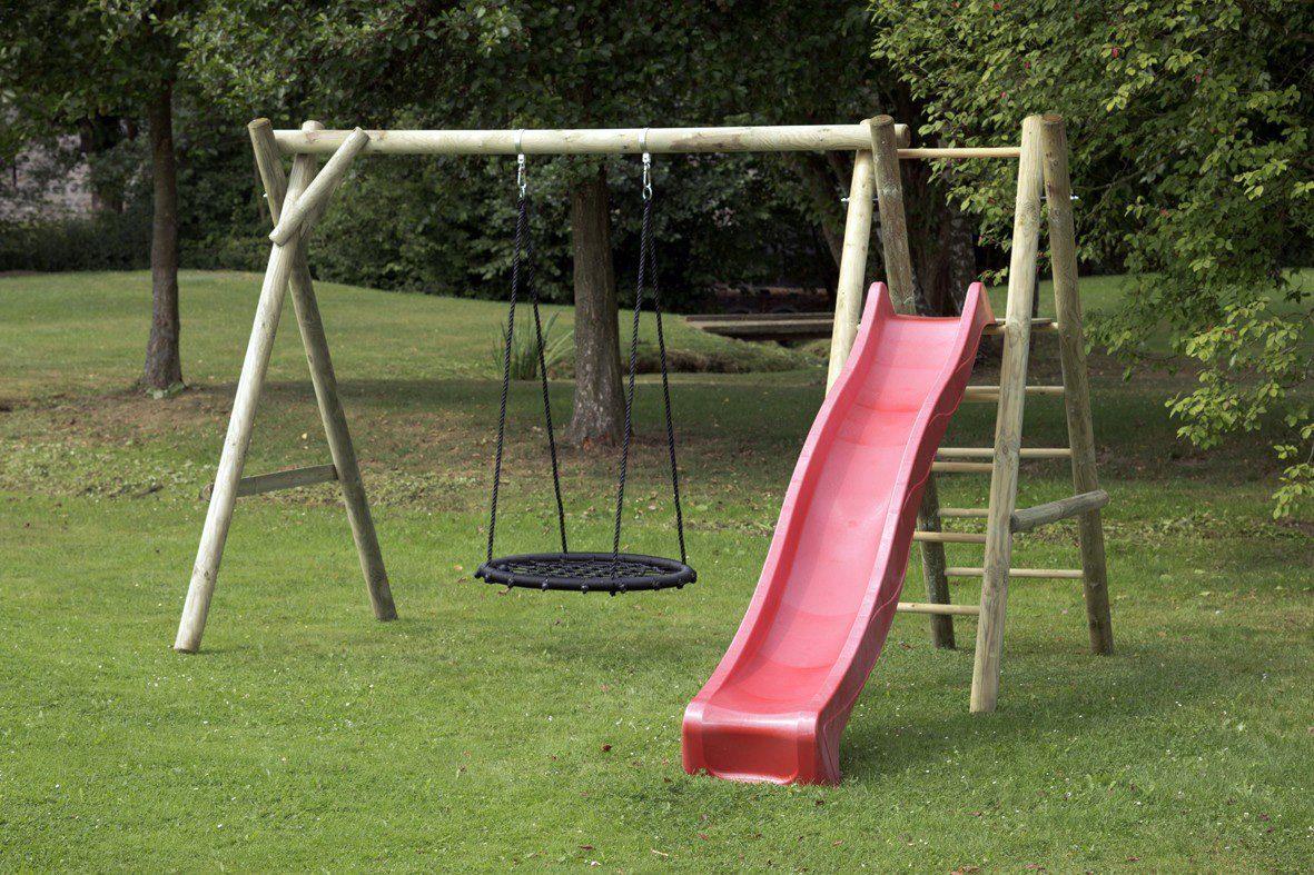Dein Spielplatz Schaukel mit Nestschaukelsitz und Wellenrutsche, rot, »Justin«