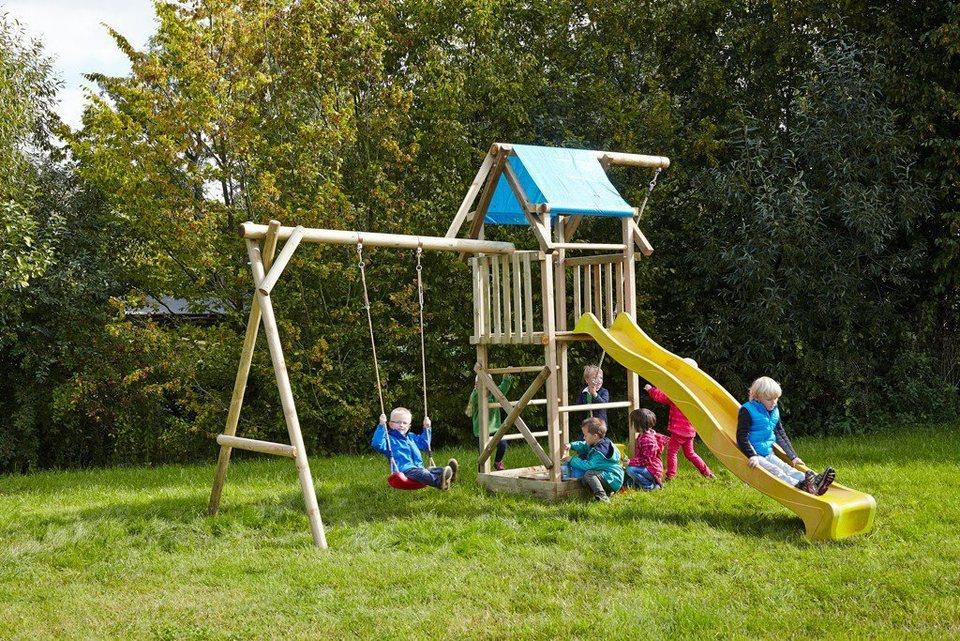 Dein Spielplatz Spielturm mit Schaukel, Knotenseil und Rutsche, gelb, »Asterix« in gelb