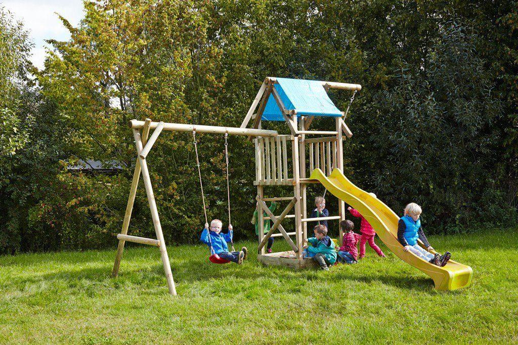Dein Spielplatz Spielturm mit Schaukel, Knotenseil und Rutsche, gelb, »Asterix«