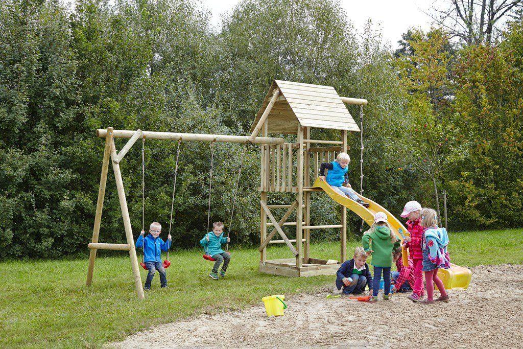 Dein Spielplatz Spielturm mit Doppelschaukel, Knotenseil und Rutsche, gelb, »Obelix XL«