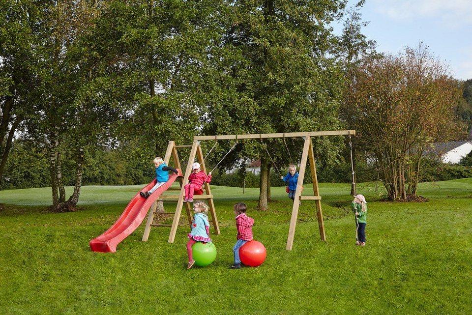 Dein Spielplatz Schaukel mit Knotenseil und Wellenrutsche, rot, »Leni Premium« in rot