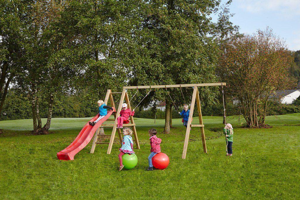 Dein Spielplatz Schaukel mit Knotenseil und Wellenrutsche, rot, »Leni Premium«