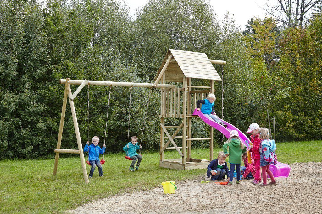 Dein Spielplatz Spielturm mit Doppelschaukel, Knotenseil und Rutsche, pink, »Obelix XL«