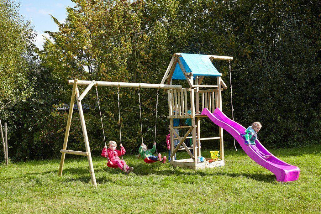 Dein Spielplatz Spielturm mit Doppelschaukel, Knotenseil und Rutsche, pink, »Asterix XL«