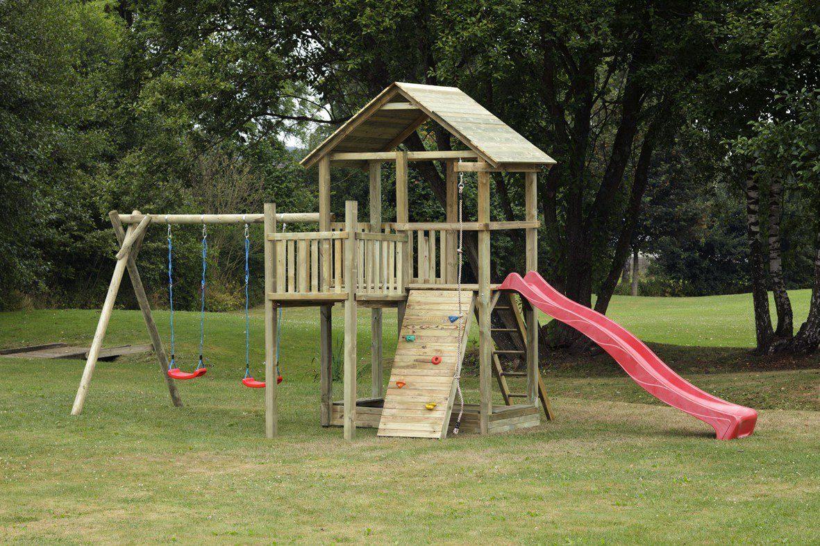 Dein Spielplatz Spielturm mit Rutsche, rot, »Pirate & Princess 12«