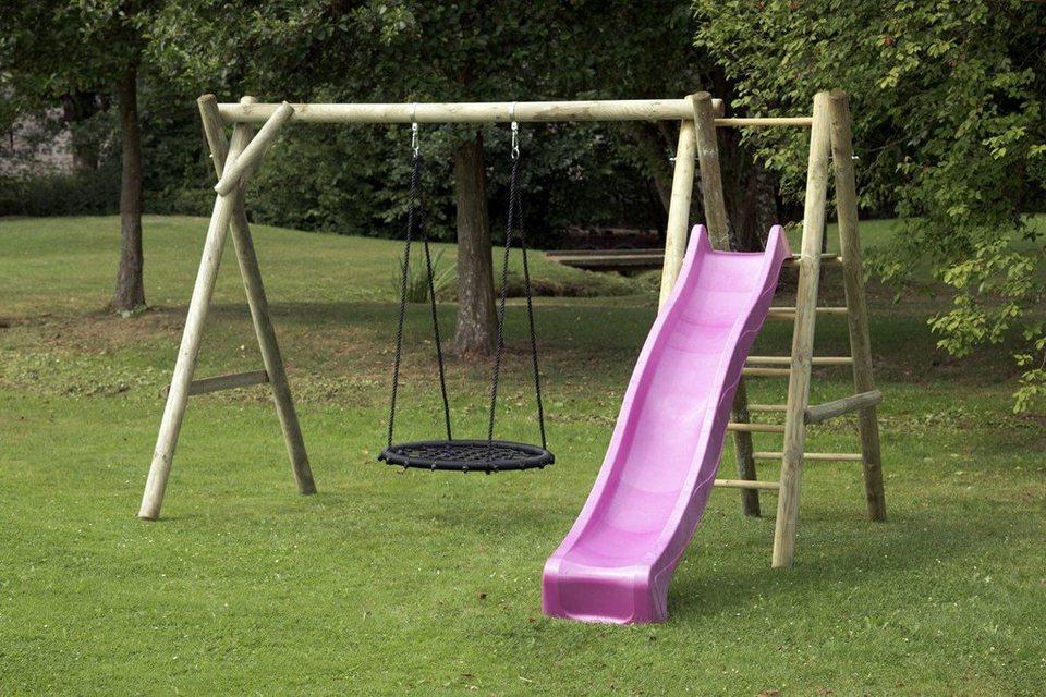 Dein Spielplatz Schaukel mit Nestschaukelsitz und Wellenrutsche, pink, »Justin« in pink