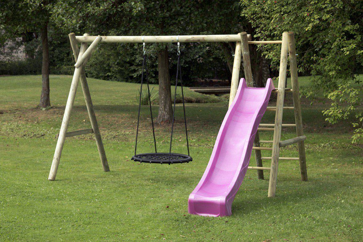 Dein Spielplatz Schaukel mit Nestschaukelsitz und Wellenrutsche, pink, »Justin«