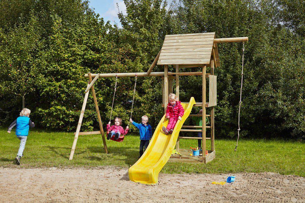 Dein Spielplatz Spielturm mit Schaukel, Knotenseil und Rutsche, gelb, »Obelix«