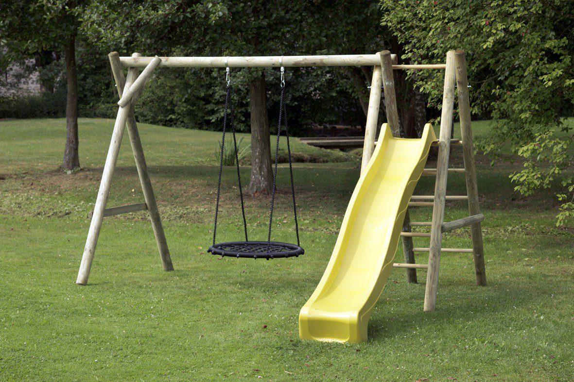 Dein Spielplatz Schaukel mit Nestschaukelsitz und Wellenrutsche, gelb, »Justin«