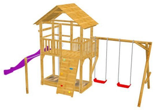 Dein Spielplatz Spielturm mit Rutsche, gelb, »Pirate & Princess 11« in pink