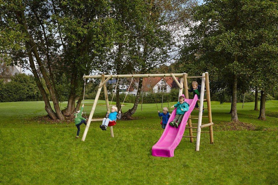 Dein Spielplatz Schaukel mit Knotenseil und Wellenrutsche, pink, »Leni Classic« in pink