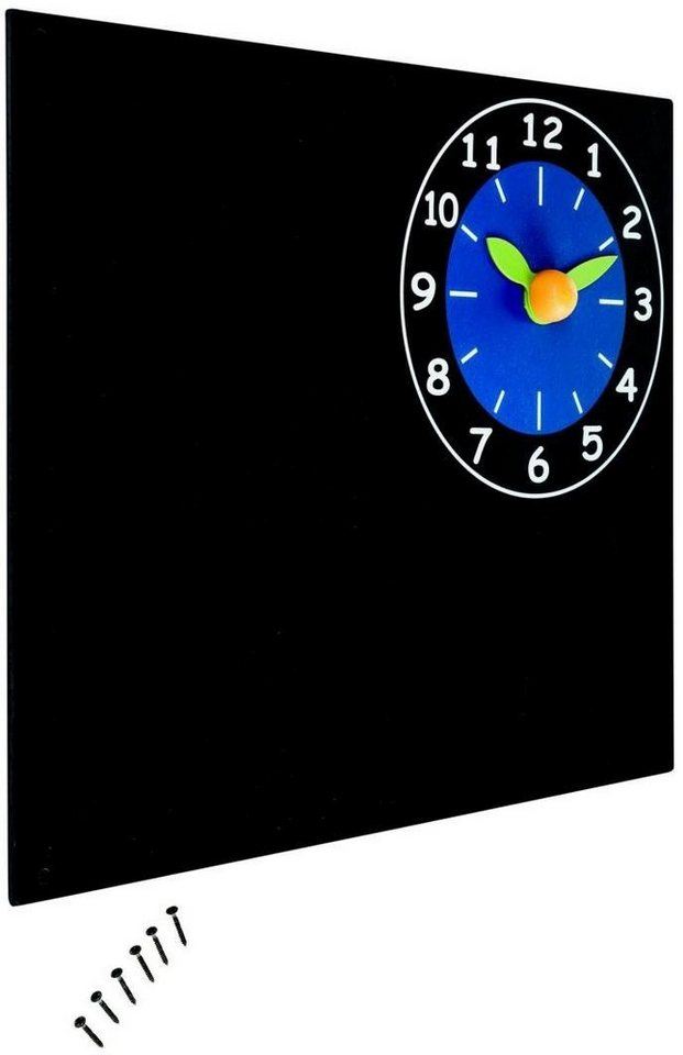 Dein Spielplatz Wandtafel mit Uhr in schwarz