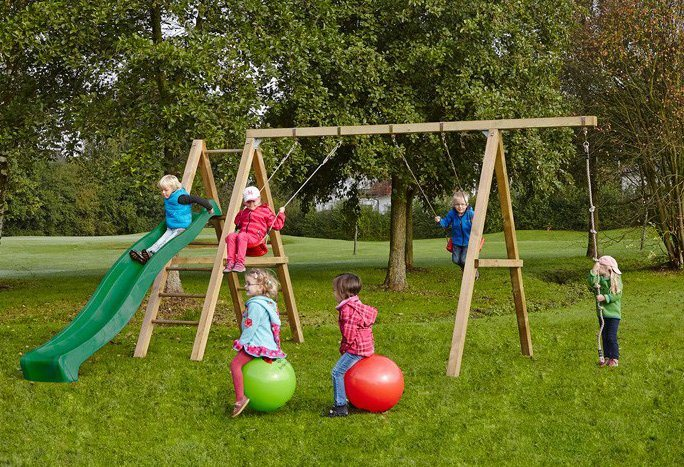 Dein Spielplatz Schaukel mit Knotenseil und Wellenrutsche, grün, »Leni Premium« in grün