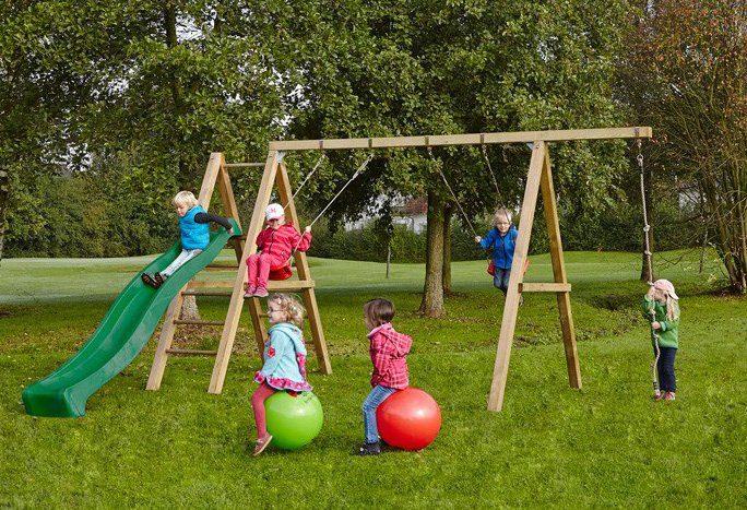 Dein Spielplatz Schaukel mit Knotenseil und Wellenrutsche, grün, »Leni Premium«